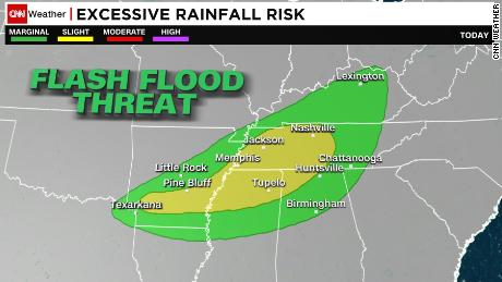 Flash flood threat for central Tennessee