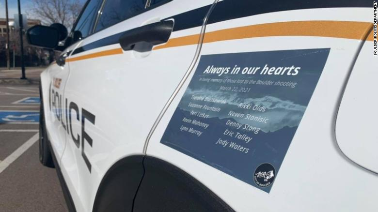 Police in Boulder have put the names of the 10 grocery store shooting victims on their patrol cars