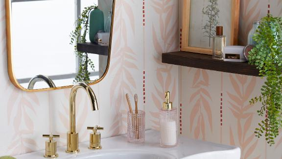 Peach and White Vintage Palm Peel-and-Stick Wallpaper by Drew Barrymore Flower Home