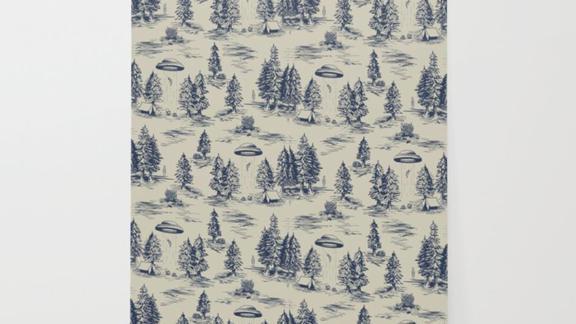 Beth Norton Alien Abduction Toile De Jouy Pattern in Blue Wallpaper