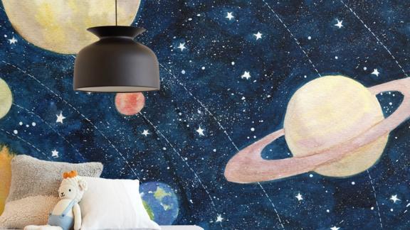 Solar System Kids' Wall Mural by Alexandra Dzh