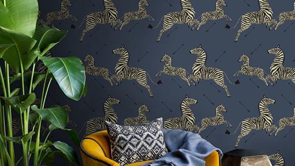 Denim Zebra Safari Scalamandré Self Adhesive Wallpaper by NuWallpaper