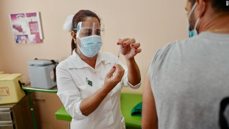 Cuban frontline health care workers in Havana received on Wednesday their first shot of the island's Soberana-02 Covid-19 vaccine candidate as part of Phase III trials that began on March 3.