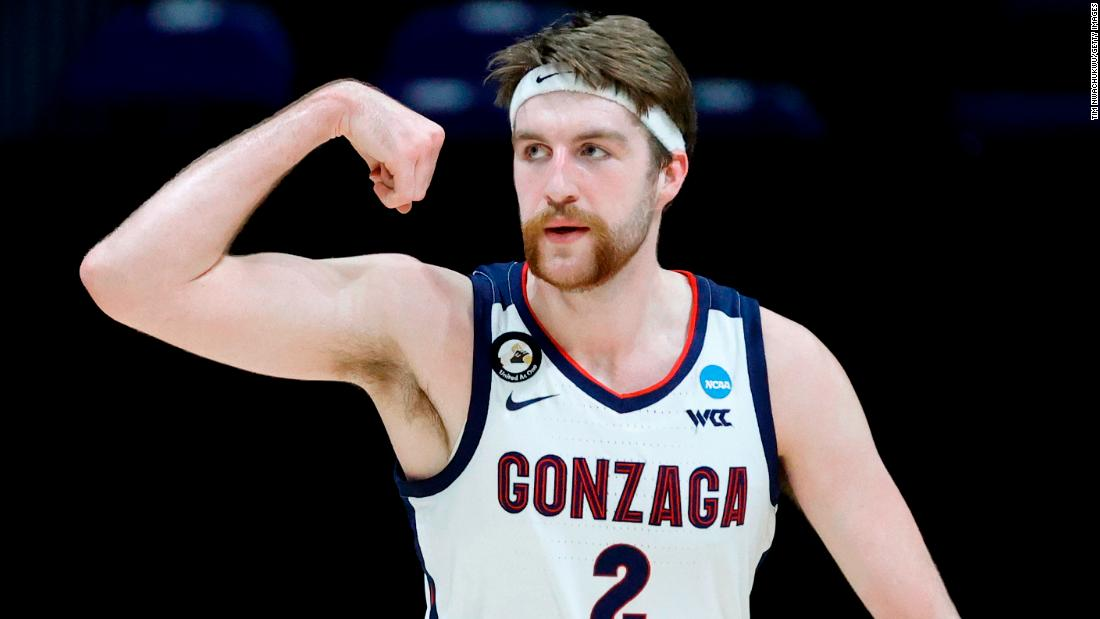 Gonzaga's Drew Timme flexes during the first half of the USC game. He finished with 23 points.