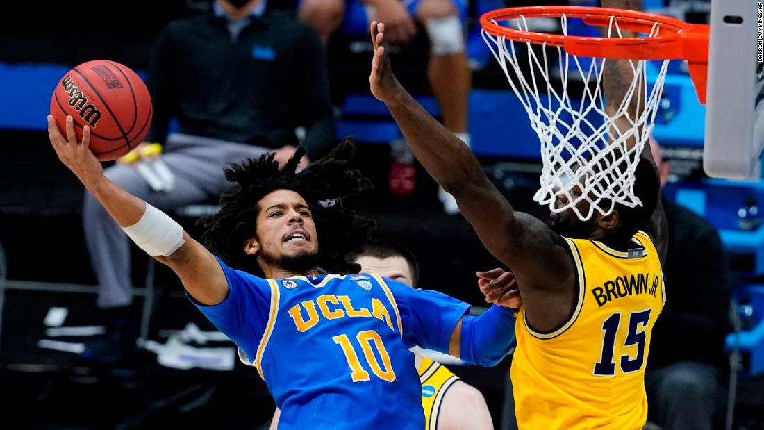 UCLA point guard Tyger Campbell rises for a shot on Tuesday.