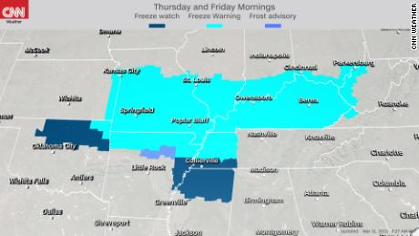 Freeze watches and warnings and frost advisories are in effect for the cold air expected Thursday and Friday mornings