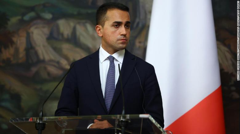 Italian Foreign Minister Luigi Di Maio is seen at a joint press conference with his Russian counterpart Sergey Lavrov (not pictured) after a meeting in Moscow, Russia, on October 14, 2020.