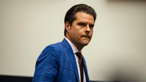 Representative Matt Gaetz (R-FL) arrives for a House Armed Services Subcommittee hearing with members of the Fort Hood Independent Review Committee on Capitol Hill on December 9, 2020 in Washington, DC.