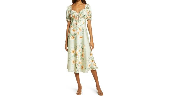 Floret Studios Floral Puff Sleeve Midi Dress