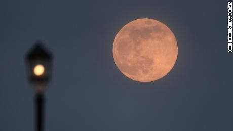 A pink supermoon rises on April 07, 2020 in Worthing, United Kingdom.