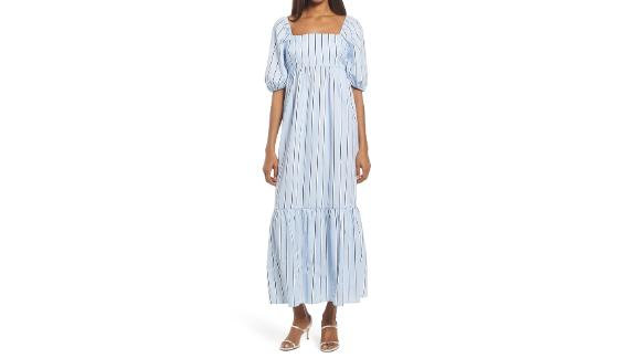 Fourteenth Place Stripe Puff Sleeve Midi Dress