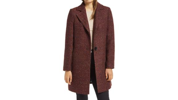 Sam Edelman Notch Collar Tweed Coat
