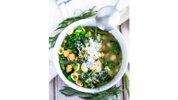 Minestrone Soup With Spring Veggies and Chickpeas by Sylvia Fountaine