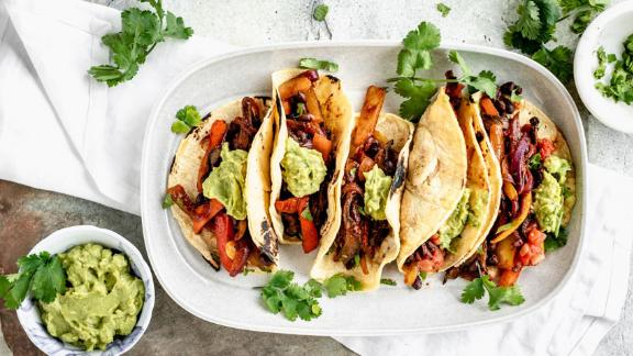 Skillet Vegan Veggie Tacos by Katie Webster