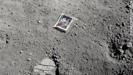 This is a family photo left behind by one of the Apollo 16 astronauts at Descartes Crater on the surface of the moon.