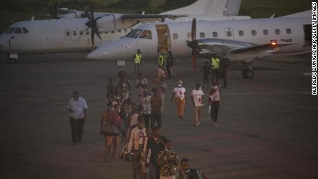 The people evacuated from Palma arrived on a humanitarian flight at Pemba Airport on March 31.