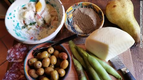 Easter in Italy is celebrated on Sunday and Monday. The Monday celebration, called Pasquetta, is often a picnic outside. This picnic includes salami, olives, insalata russa, fava beans and pecorino romano cheese.