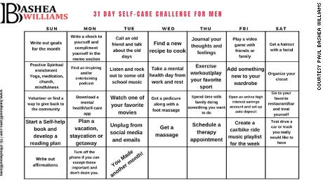 Williams created a self-care calendar to help men kick start their own self care journey,