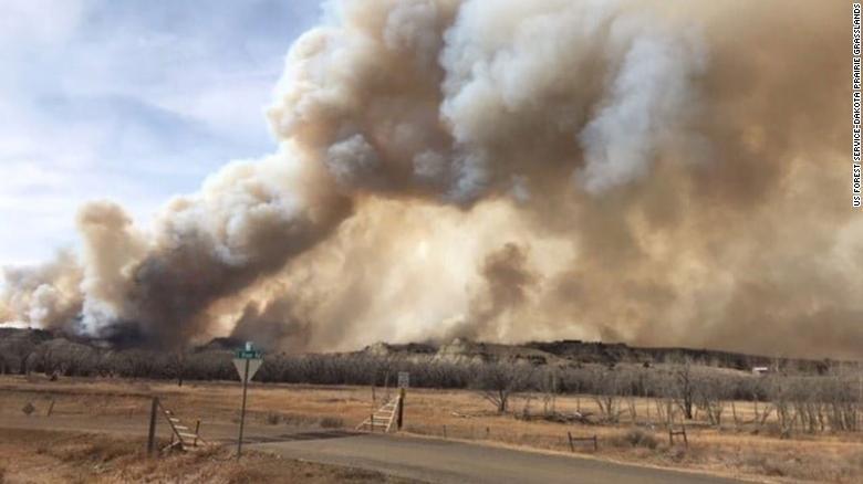 Wildfires burn near the town of Medora, North Dakota.