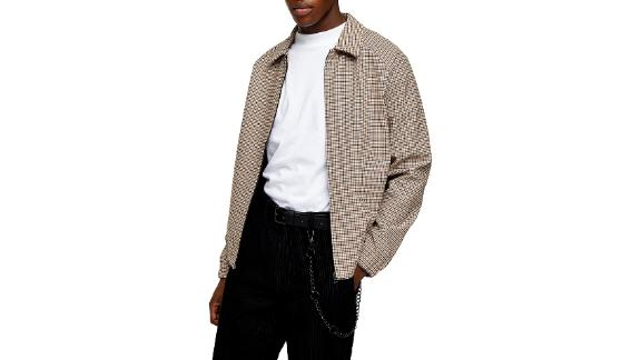 Topman Harrington Gingham Check Cotton Jacket