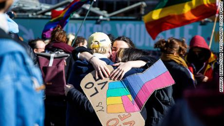 Scenes from an LGBTQ+ protest on March 13 after the homophobic murder of David P in Beveren which shocked the whole of Belgium