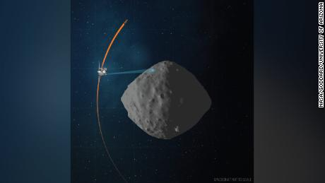 The artist's concept shows the flight path of the NASA OSIRIS-REx spacecraft during the final flyby of the asteroid Bennu.