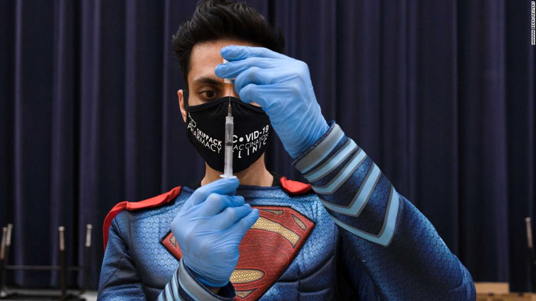 "Dr. Mayank Amin, dressed as Superman, prepares a Covid-19 vaccine at a clinic in Collegeville, Pennsylvania, on March 7. <a href=""https://www.reuters.com/article/us-health-coronavirus-usa-pharmacy/how-one-small-pennsylvania-pharmacy-is-vaccinating-thousands-idUSKBN2B21CS"" target=""_blank"">Amin has been on a mission</a> to vaccinate thousands of people in his rural community."