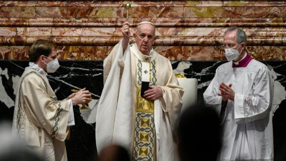 Pope Francis celebrates Easter Mass on April 4 at St. Peter's Basilica in The Vatican.