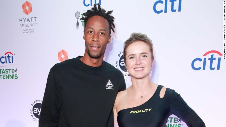 Gael Monfils (L) and Elina Svitolina attend the Citi Taste Of Tennis Indian Wells on March 04, 2019 in Indian Wells, California.