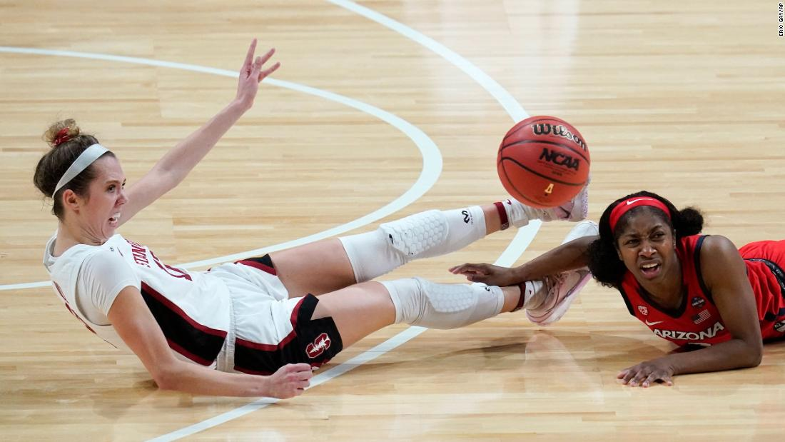 Lexie Hull and McDonald battle for a loose ball.