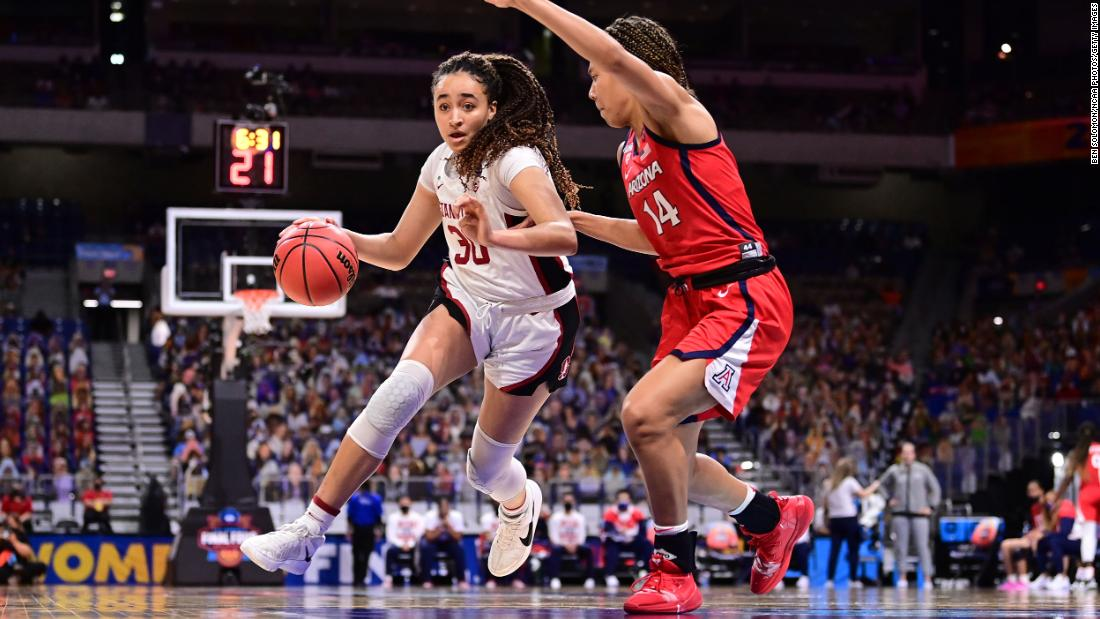 Stanford's Haley Jones drives to the basket Sunday. She finished with a team-high 17 points and was later named the tournament's most outstanding player.