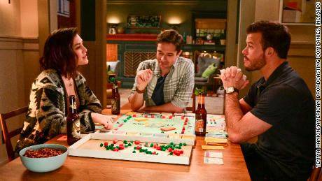 Caitlin McGee, Topher Grace and Jimmy Tatro play siblings in ABC's 'Home Economics' (ABC/Temma Hankin)