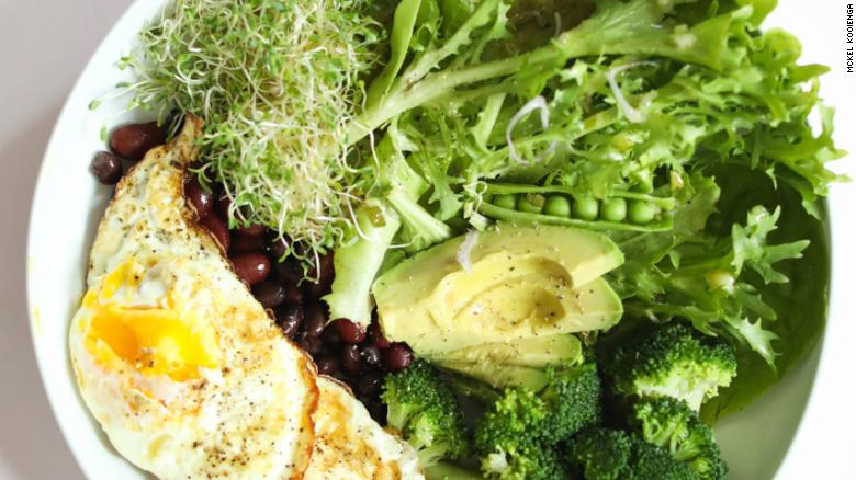 Kooienga's Foundational Five Eggs, Beans and Greens Nourish Meal is a savory option for a balanced breakfast.