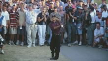 Woods takes his second shot on the 18th during the third playoff hole in the PGA Championship.
