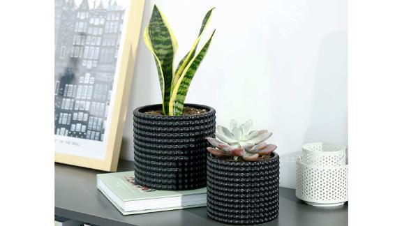 Potey Black Ceramic Hobnail Patterned Planter Pots
