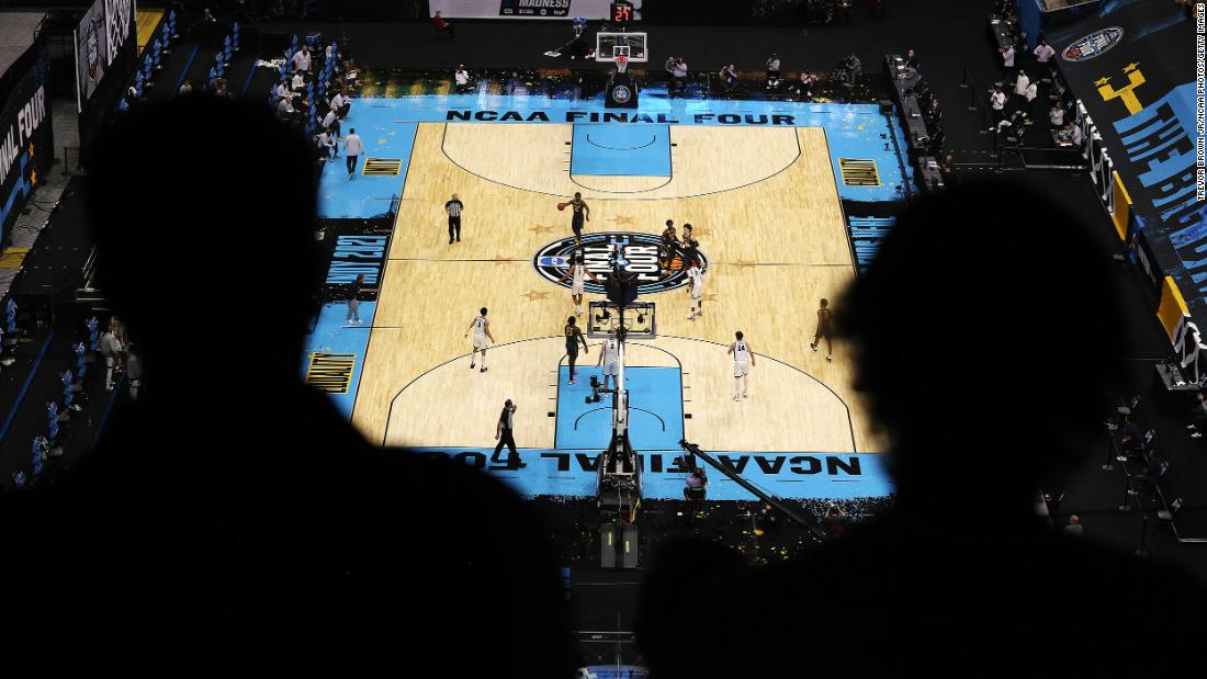 Fans get an overhead view of the court during Monday night's final at Lucas Oil Stadium.
