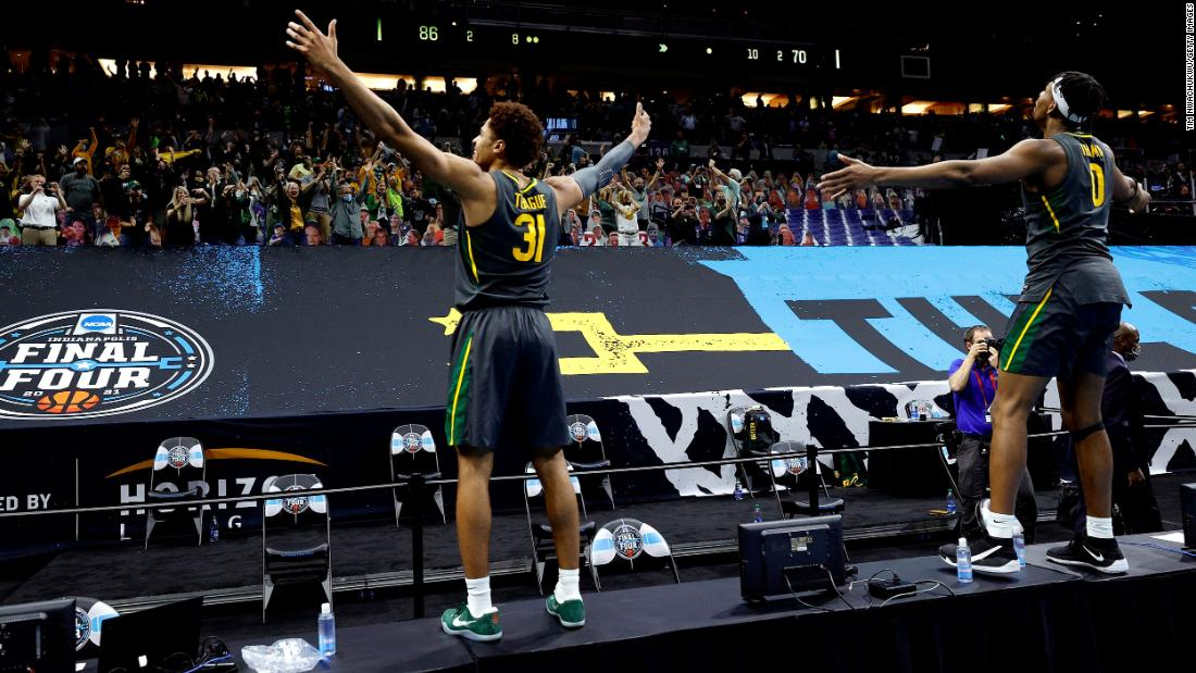 Baylor's MaCio Teague, left, and Flo Thamba celebrate after the Bears defeated Gonzaga in Monday night's NCAA title game.