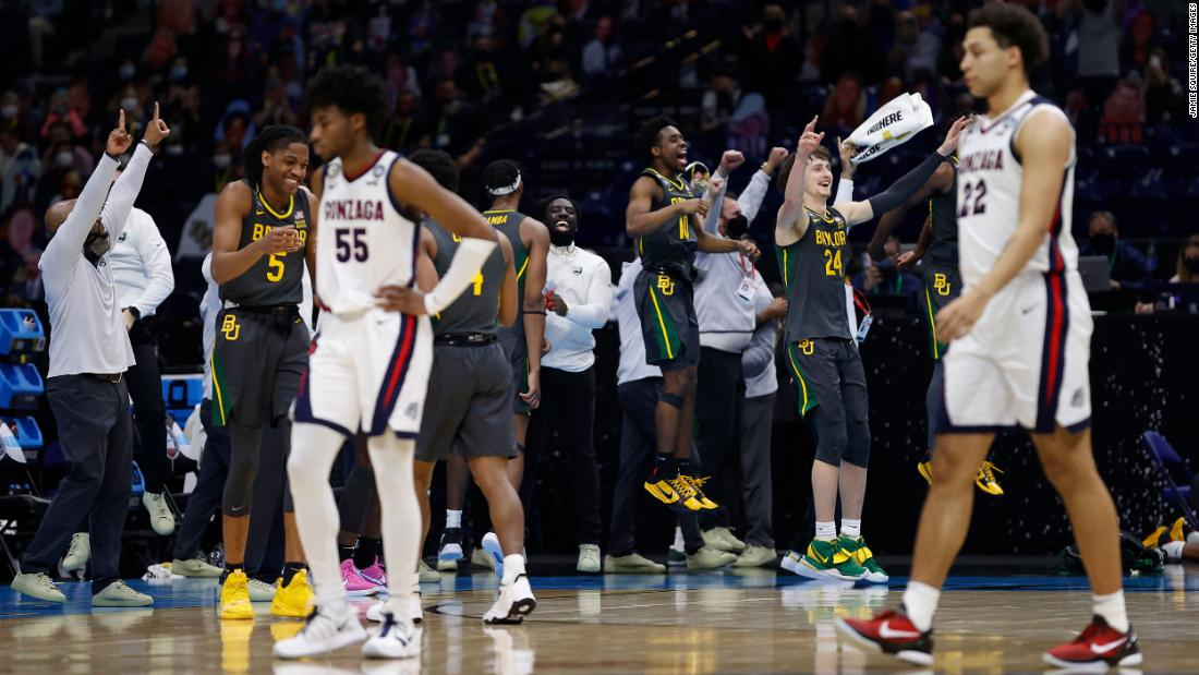 Baylor players celebrate after the final buzzer.