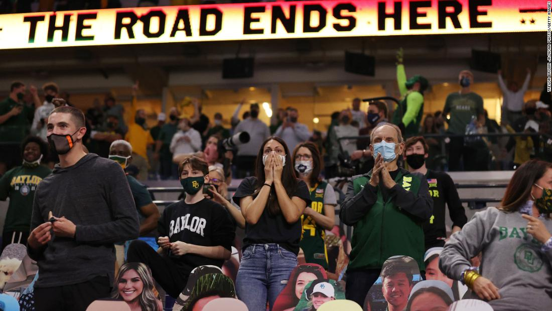 Baylor fans celebrate the win.