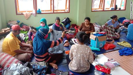 People who were displaced by floods at a temporary shelter in East Lewoleba, on Lembata Island, Indonesia, on April 6.