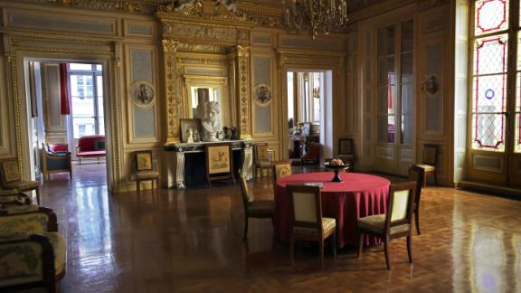 "This picture shows the interior of Palais Vivienne apartment, owned by French collector Pierre-Jean Chalencon, on April 5, 2021. - The lawyer of Pierre-Jean Chalencon, owner of the ""Palais Vivienne"", implicated by a report from French channel M6 for clandestine dinners in Paris, told AFP on April 4th that his client was only ""joking"" when he declared ministers participated in such meals. Paris prosecutor Remy Heitz opened a criminal investigation on alleged dinners banned during the pandemic. - RESTRICTED TO EDITORIAL USE (Photo by Thomas COEX / AFP) / RESTRICTED TO EDITORIAL USE (Photo by THOMAS COEX/AFP via Getty Images)"
