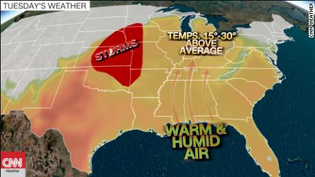 Severe storms behind a surge of summer-like heat
