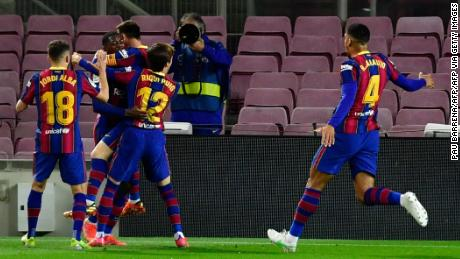 Ousmane Dembele celebrates after scoring the winning goal against Valladolid.