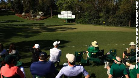 Patrons watch the sixth green in a practice round ahead of this year's Masters.
