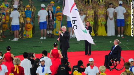 Boris Johnson accepts the Paralympic flag during the  Paralympics closing ceremony in Beijing in September 2008.