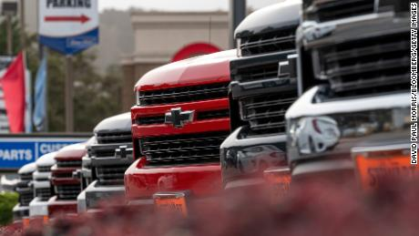 GM's new electric truck will be engineered seperately from  internal combustion-powered Chevrolet Silverado  trucks like these recently on sale at a dealership in California.