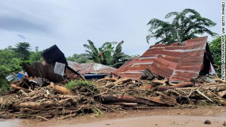 Homes damaged after a fllash flood in East Flores, Indonesia, on April 5.