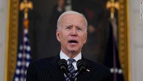 President Joe Biden delivers remarks about vaccinations, in the State Dining Room of the White House, Tuesday, April 6, 2021, in Washington.
