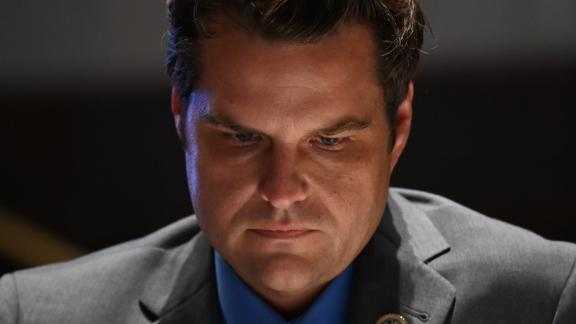 "WASHINGTON, DC - JUNE 17:  Representative Matt Gaetz, a Republican from Florida, listens during a markup on H.R. 7120, the ""Justice in Policing Act of 2020,""  on June 17, 2020, in Washington, D.C. The House bill would make it easier to prosecute and sue officers and would ban federal officers from using choke holds, bar racial profiling, end ""no-knock"" search warrants in drug cases, create a national registry for police violations, and require local police departments that get federal funds to conduct bias training.  (Photo by Erin Scott-Pool via Getty Images)"