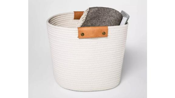 13-Inch Decorative Coiled Rope Square Basket
